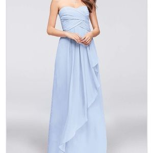 David's Bridal Ice Blue Strapless Chiffon Dress